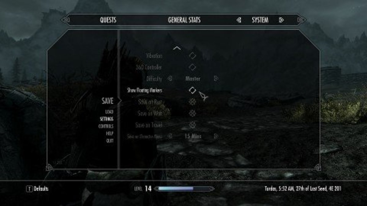 You can disable the floating quest markers in the Display menu of the Settings menu.