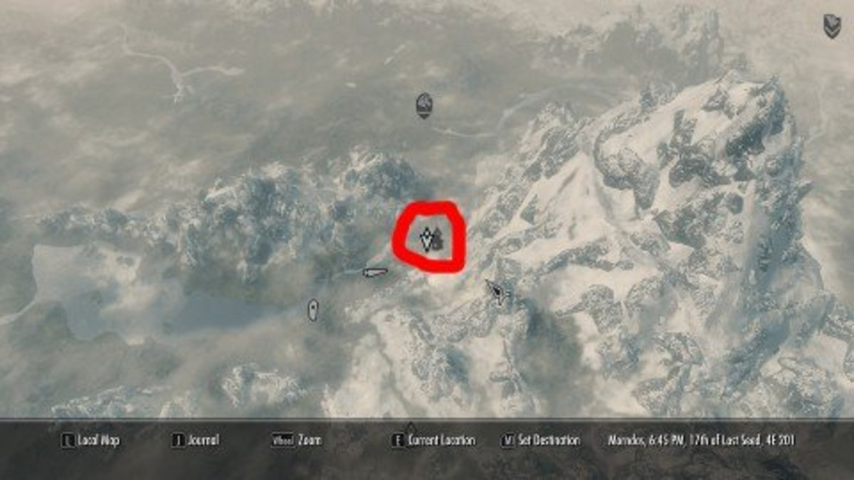 The quest marker on the in-game map.