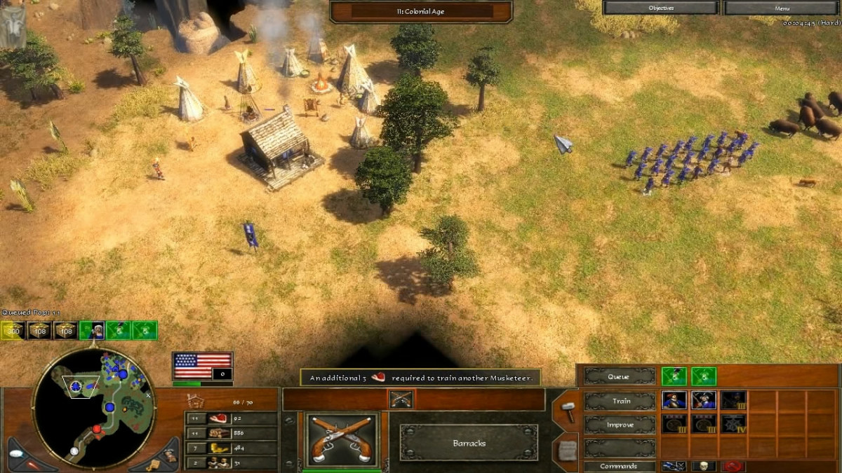 Approaching the Comanche camp with it's Trading Post already built, with the army. (19 Musketeers, 2 Heroes, 1 Railroad Worker, 5 Musketeers on the way from Barracks)
