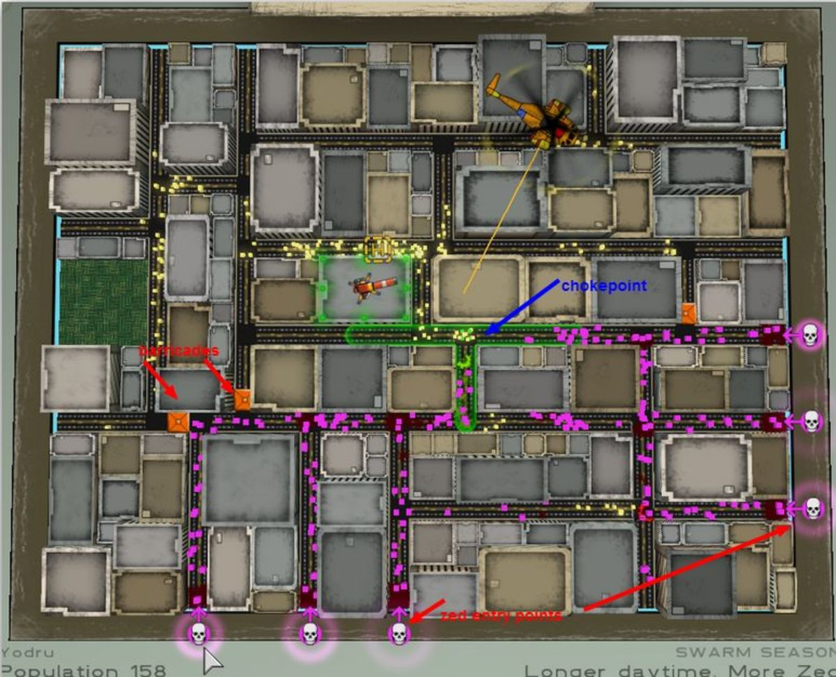 Atom Zombie Smasher City map, with barricades, zed entrance points, and other elements highlighted.