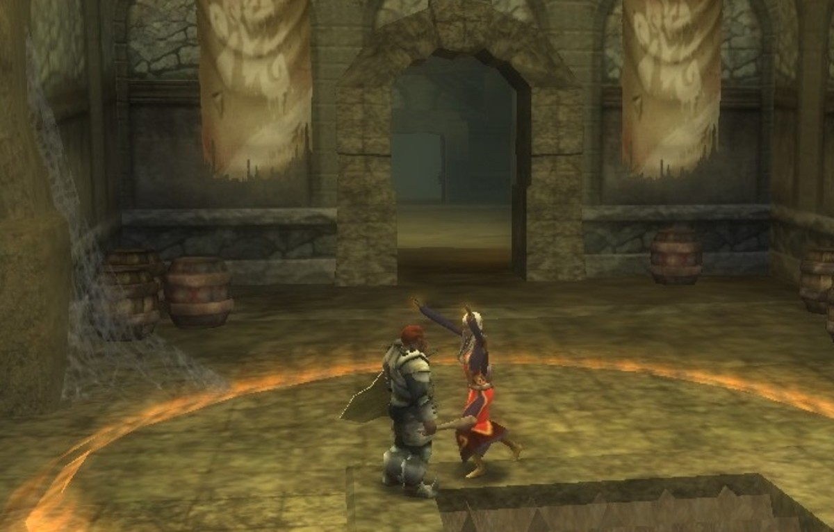 An elf wizard casts haste on herself and her hireling.  Note the large area effect of the spell.  Anyone standing inside the effect range gains the enhancements the spell provides.
