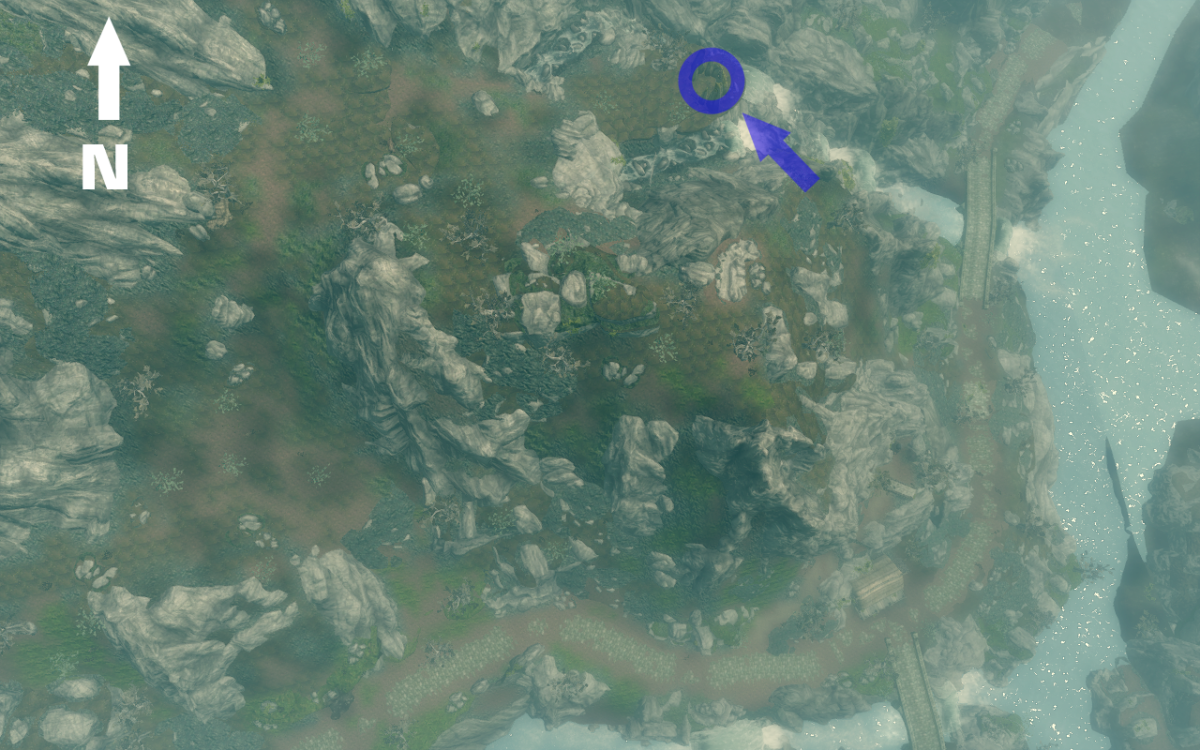 Aerial View of The Lover Stone primary location in Skyrim.