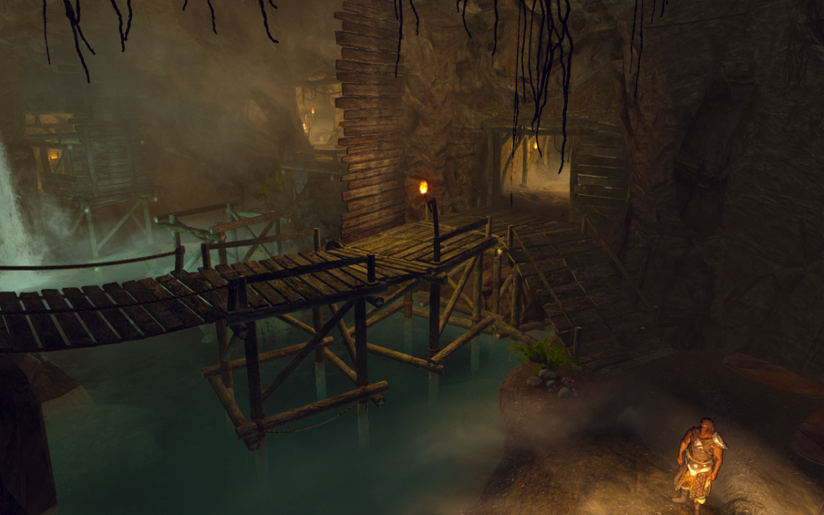 The raised drawbridge in Embershard Mine.