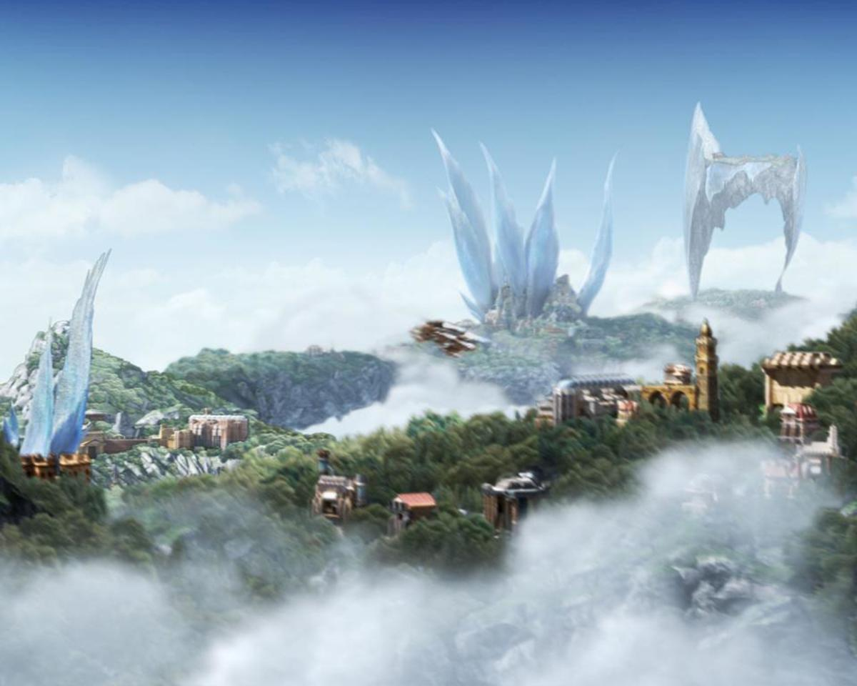 "I love Bhujerba, one of many ""floating continents"" and ""floating islands"" in the skies of Final Fantasy worlds. Cocoon itself is the latest in a long tradition."
