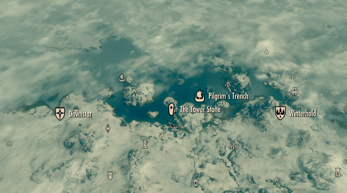 The Tower Stone location on the Skyrim world map with other nearby locations highlighted.