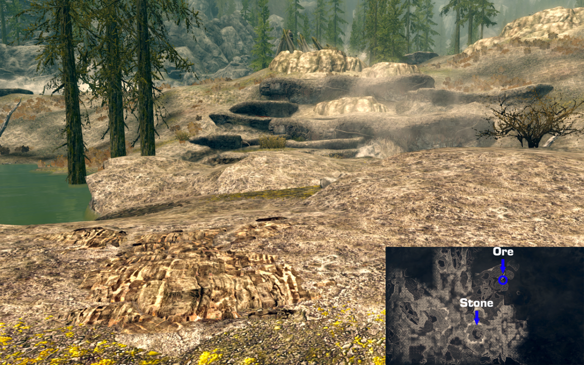 Corundum Ore Vein to the NE of the Atronach Stone in Skyrim.