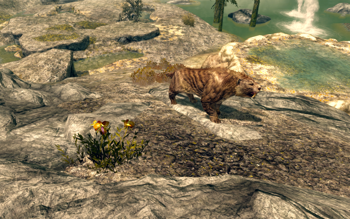 A nearby Sabre Cat by some Dragon's Tongue.
