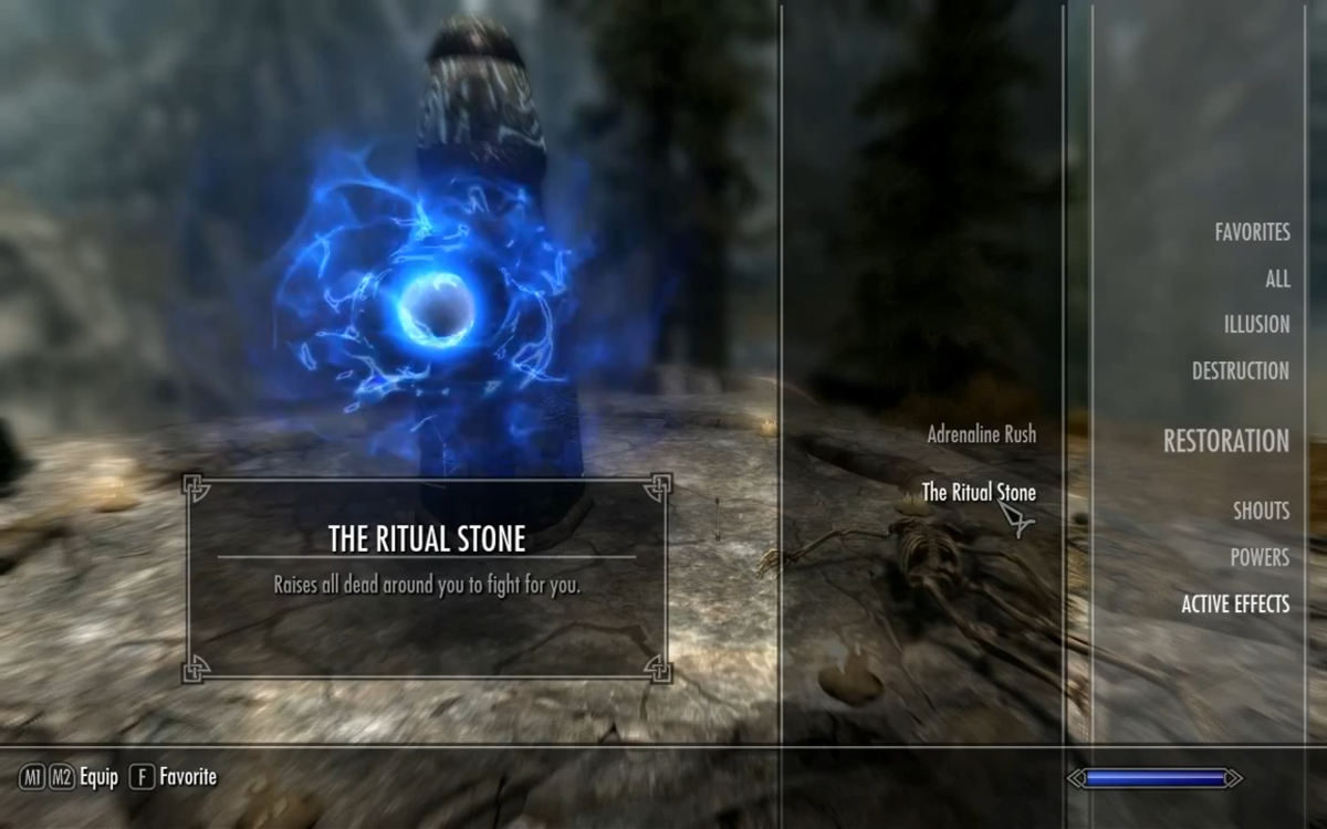 Selecting the Ritual Stone spell from the Powers tab of the spell book.