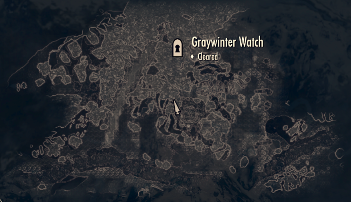 Standing at the Ritual Stone on the local map, showing Graywinter Watch directly to the north.