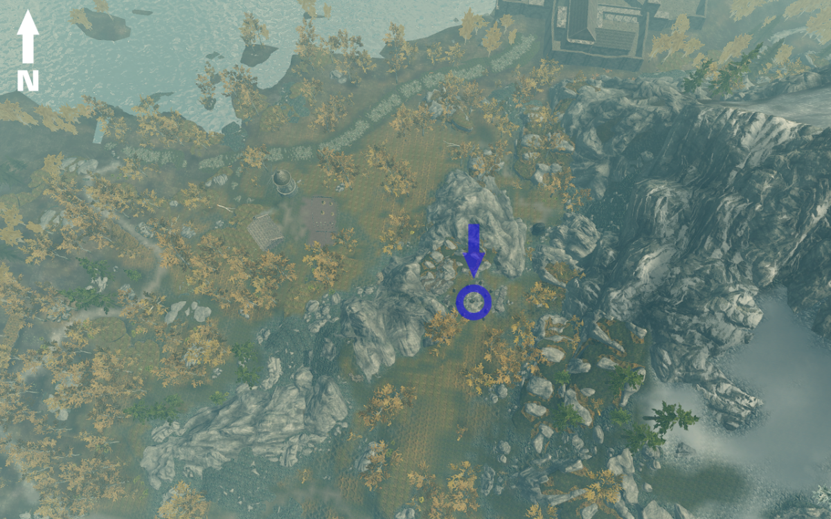 Aerial view of The Shadow Stone showing the three paths that can be used to reach it. Riften is in the upper right corner.