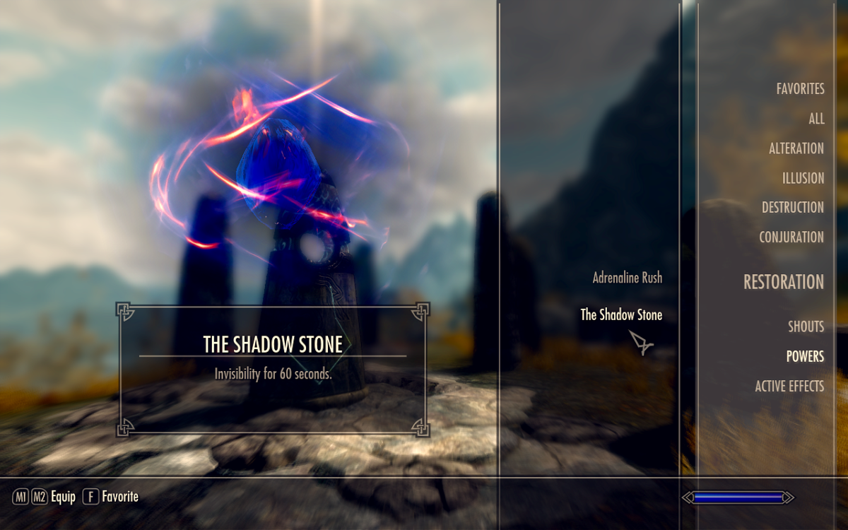 The invisibility power granted by the stone as seen in the spell book menu.