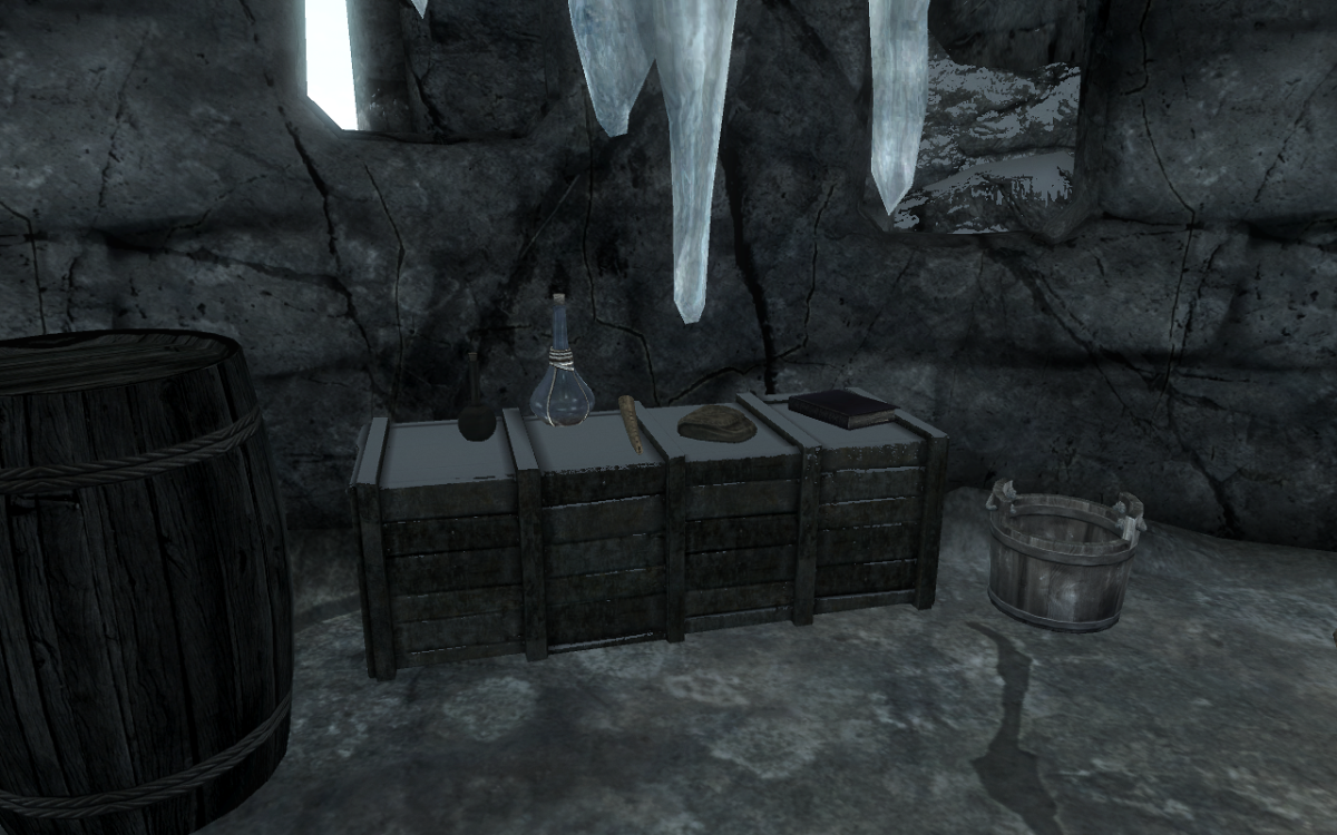 The Apothecary Satchel next to some potions on a crate.