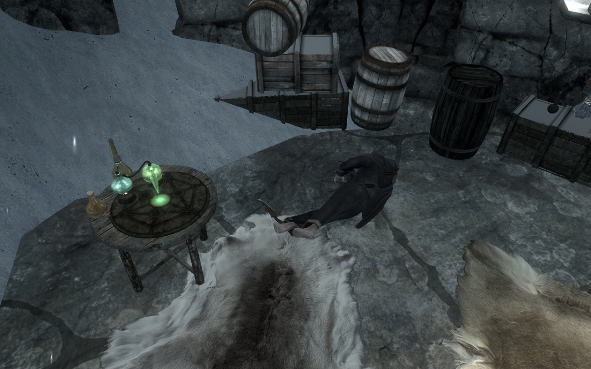 A deceased Borvir and an Alchemy Table.