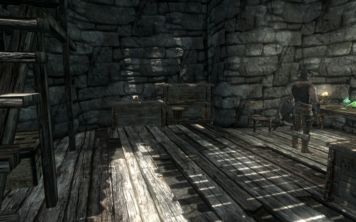 The Alchemy Table room with chest seen under the stairs to the right.