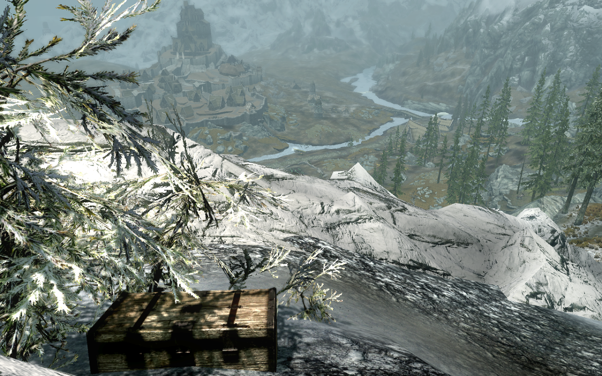 The chest and the view of Whiterun Hold from its perch.