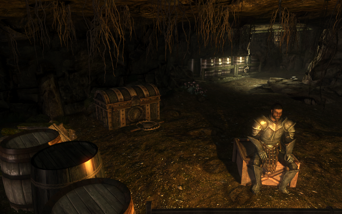 The Grand Chest containing the map at the end of the cave, protected by the Bandit Chief.