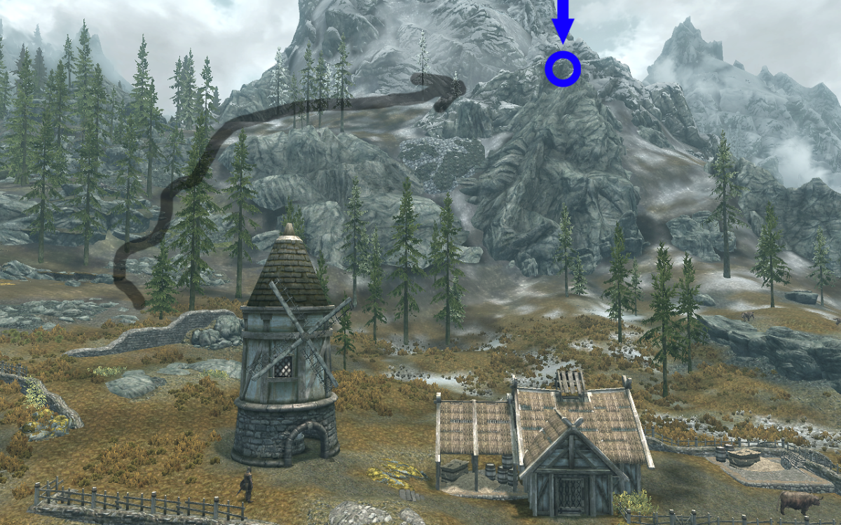 The view from the Pelagia Farm with the chest's location circled in blue and the easiest path to take drawn with the arrow.