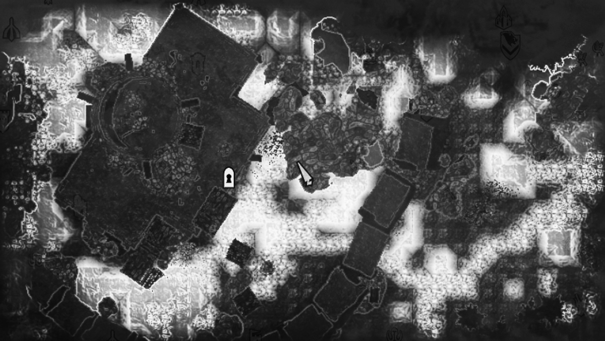The chest location as seen on the local map.