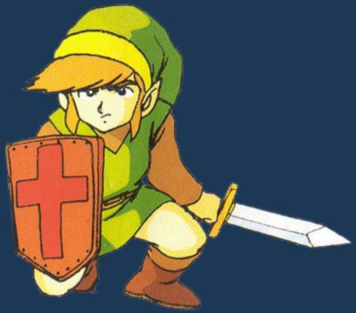 Promotional artwork of Link holding the Magic Shield.