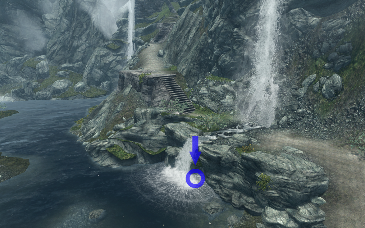 The chest's location underneath the bottom of the waterfall, circled in blue.