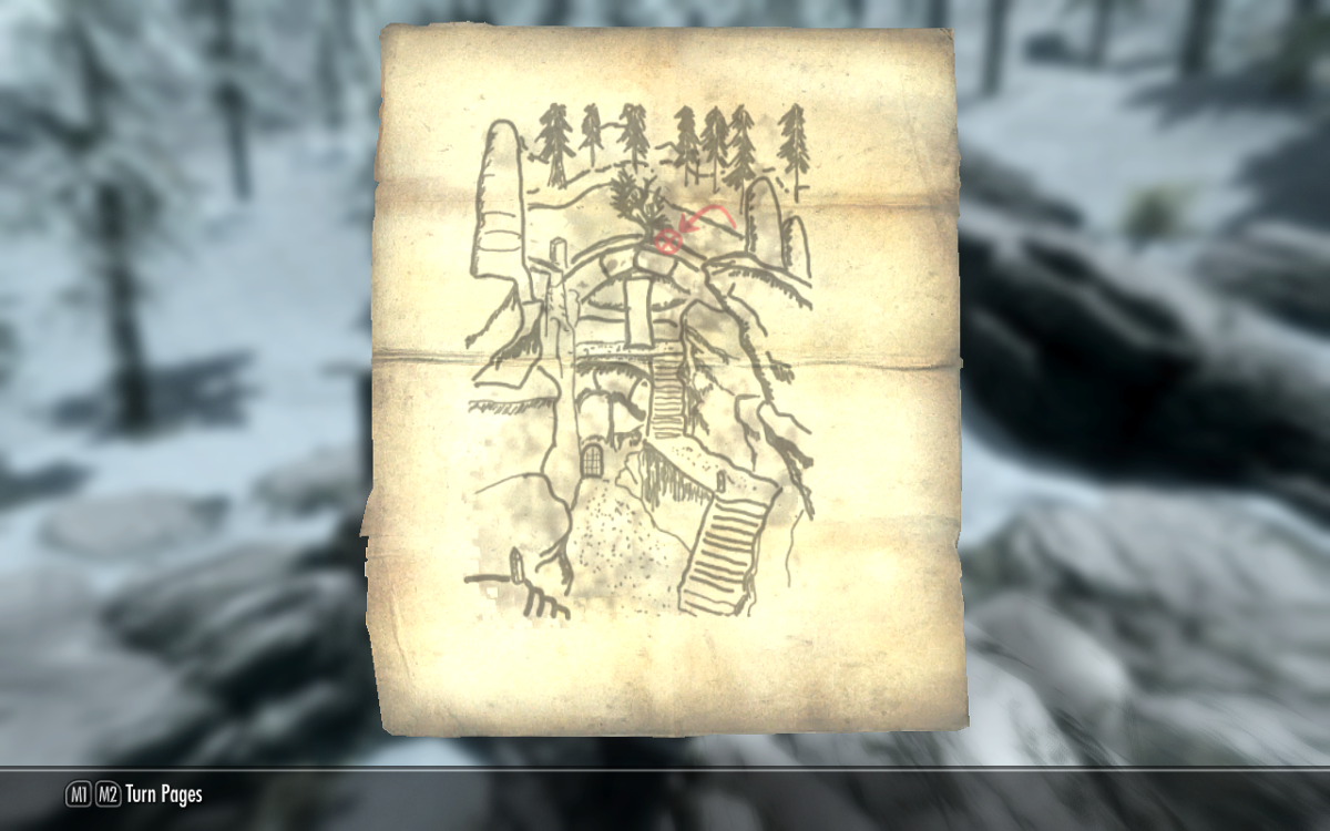 Treasure Map VI showing the chest's location atop the arch of Korvanjund.