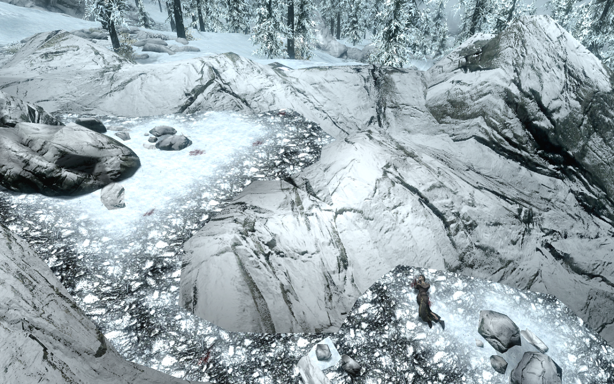 The Female Wood Elf lying among some rocks on the snowy grounds, which the bloody foot prints lead towards.