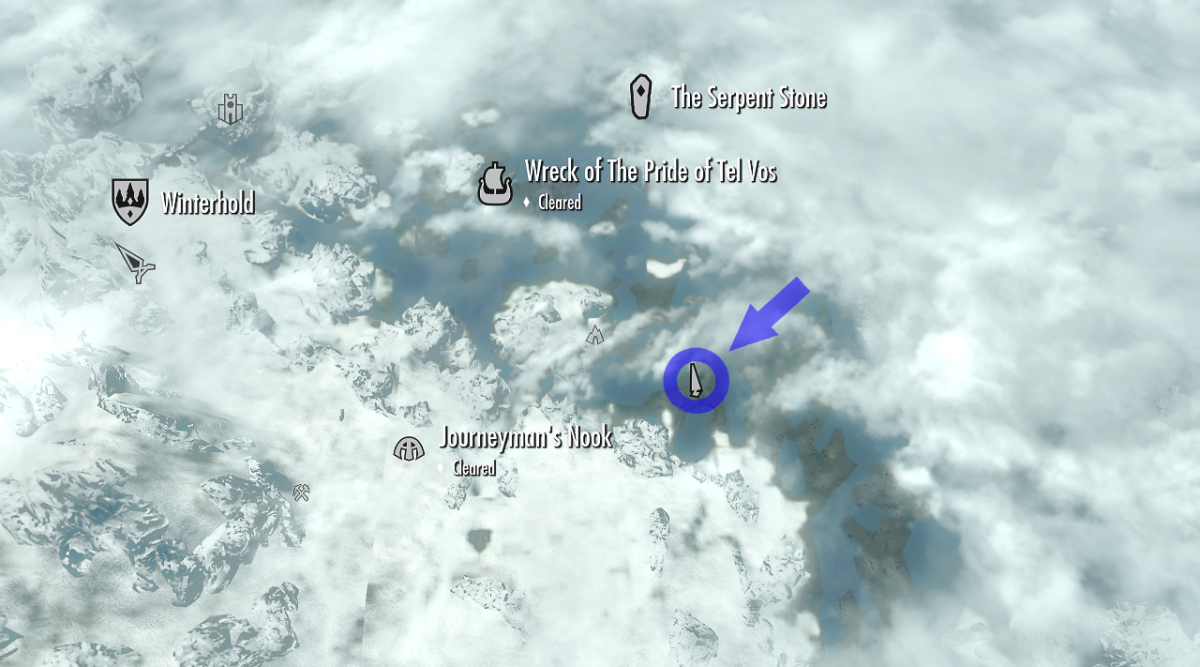 The unmarked secondary location where Treasure Map 8 is found on the Skyrim world map. Bleakcoast Cave is not highlighted but can be seen by the cave icon right next to the circle denoting the map's location.