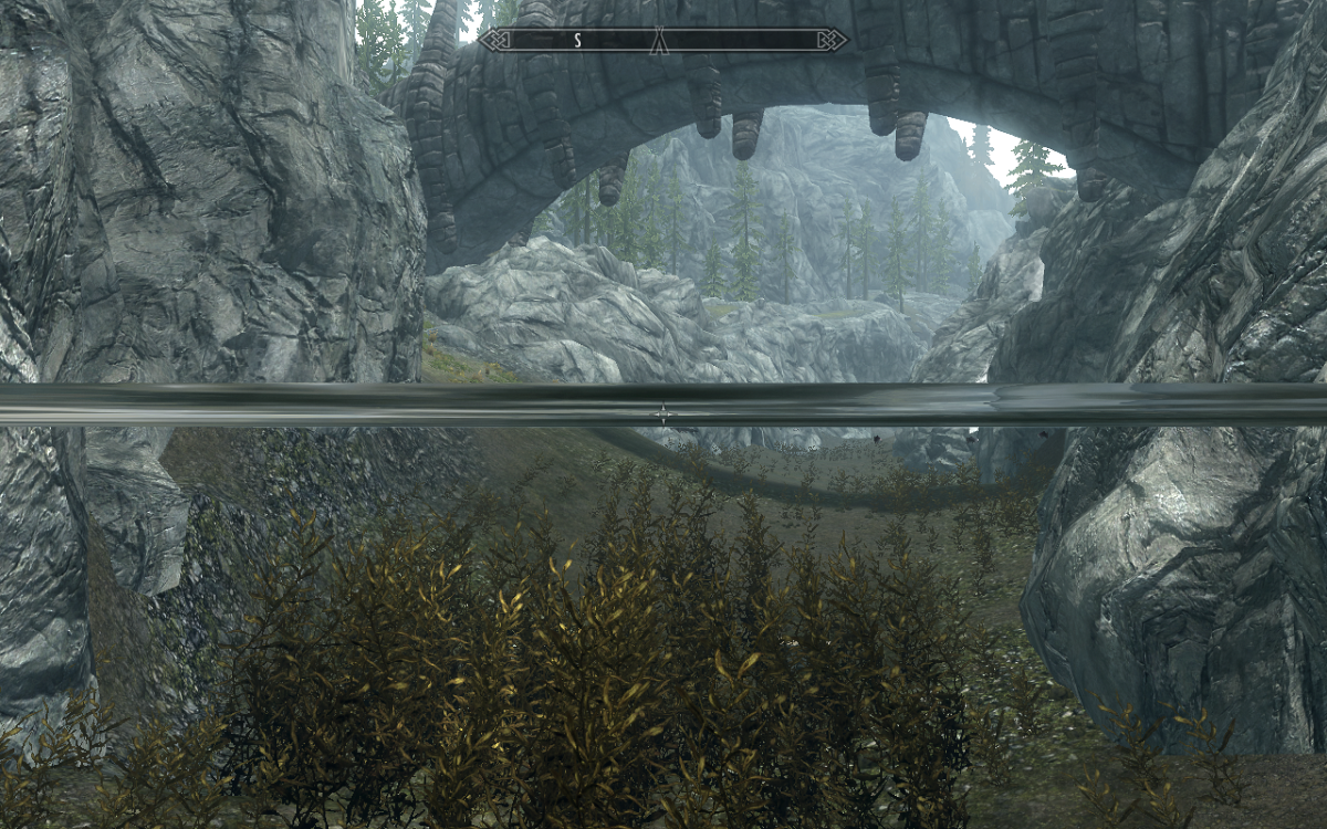 The chest hidden among the underwater grass/plants with the bridge seen to the south.
