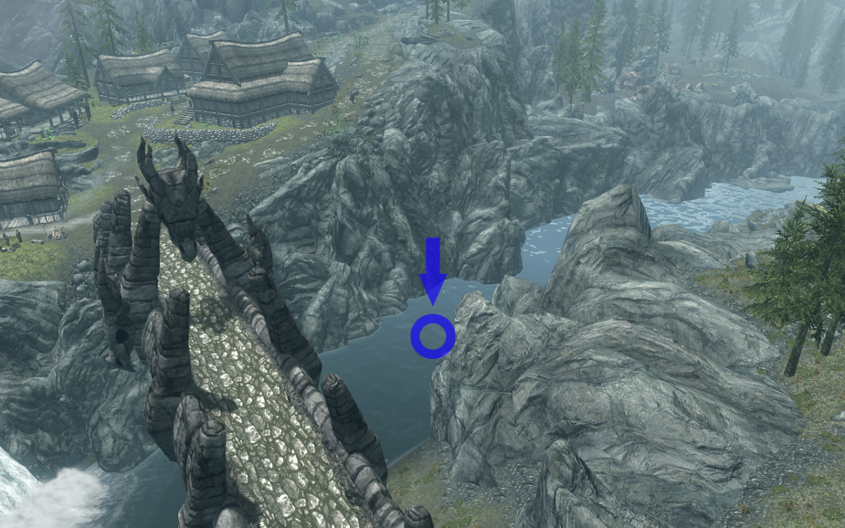 The approximate location of the chest, underneath the water of the river that runs past Dragon Bridge.