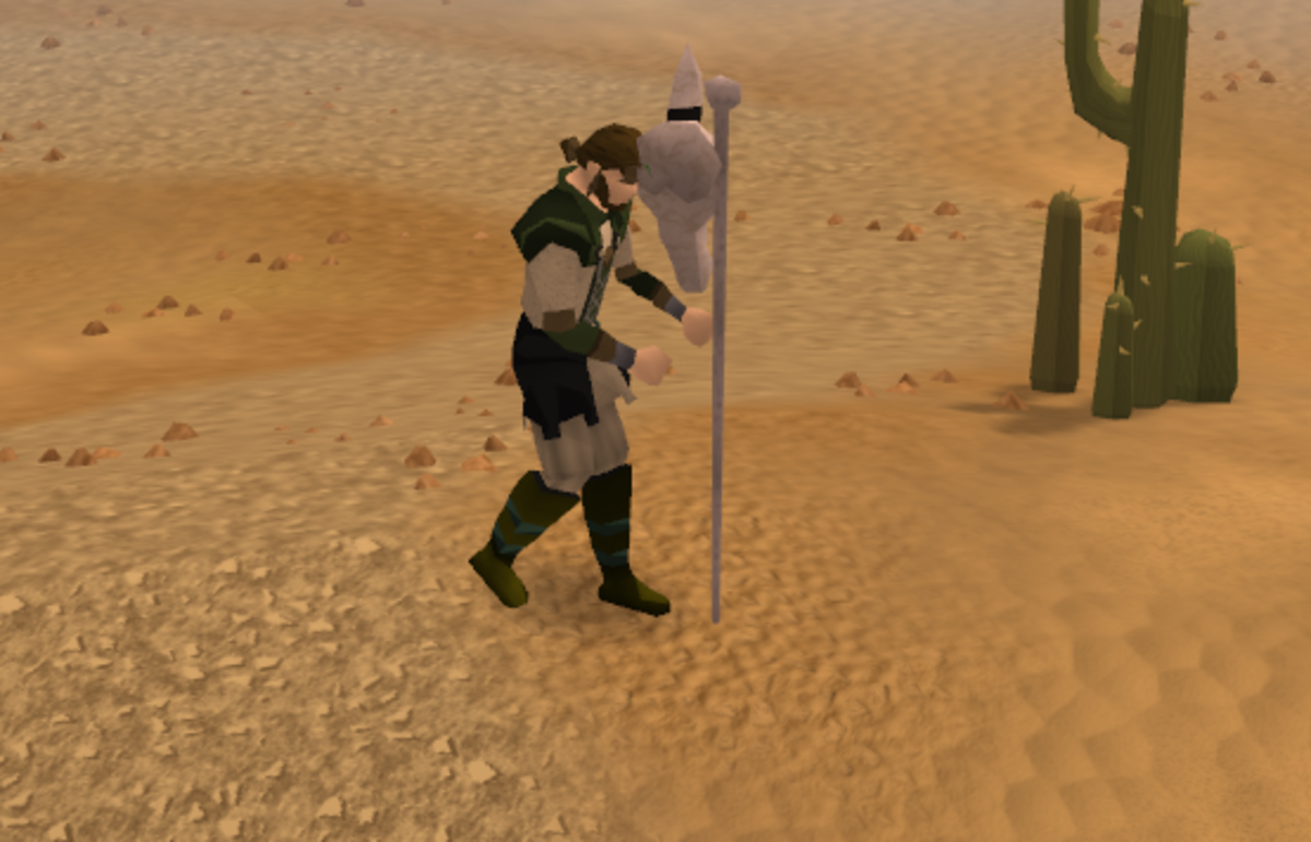 A player teleports using the Skull Sceptre.