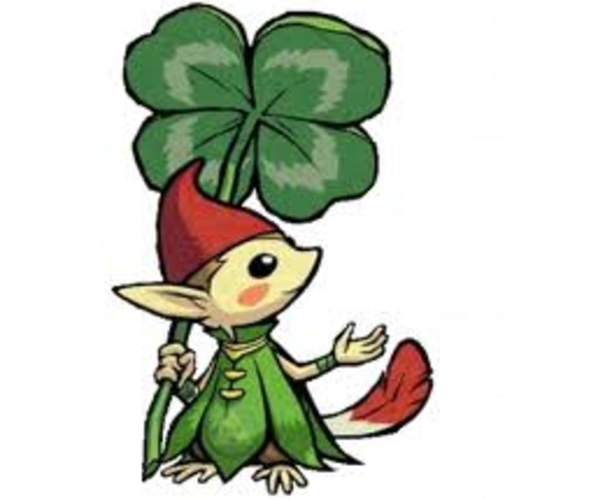 A standard forest Minish, holding a clover.