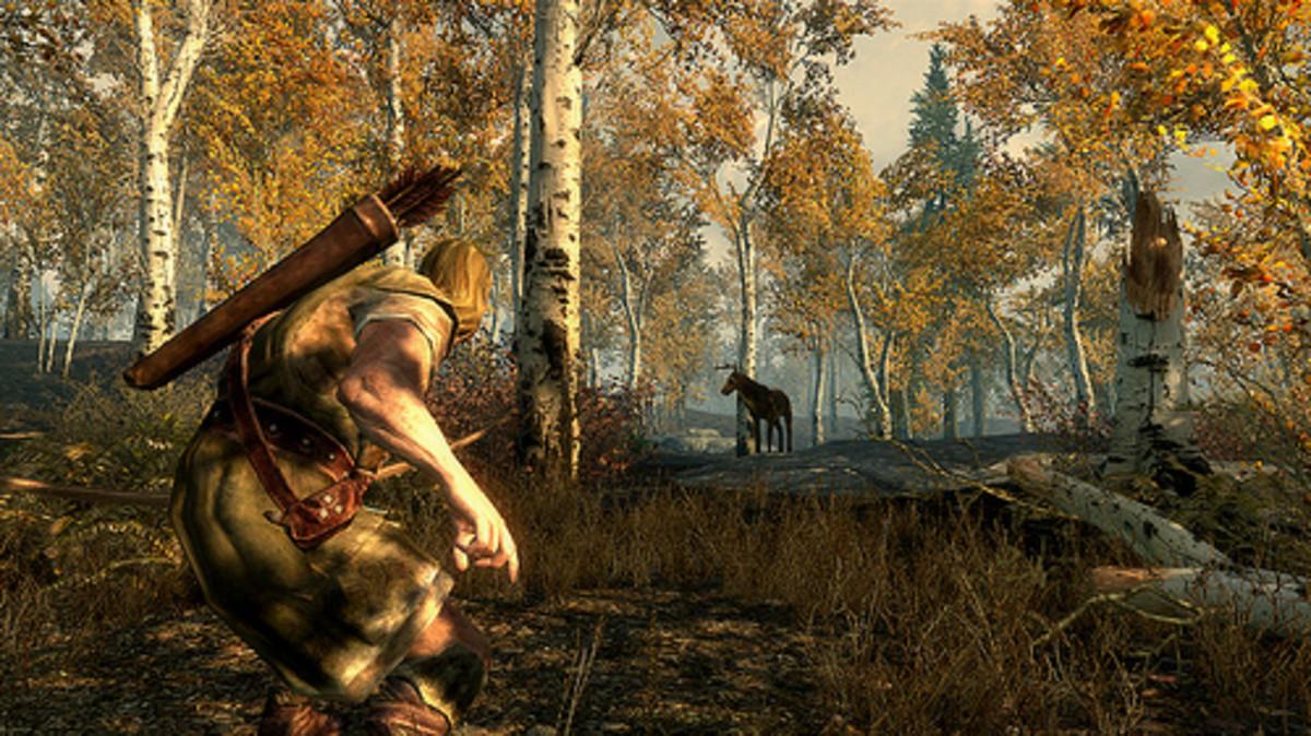 A wood elf rogue stalking its prey.