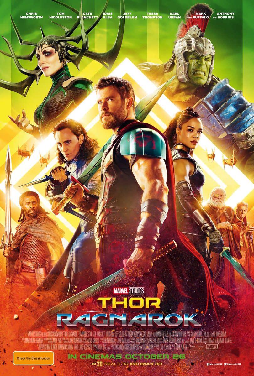 A poster for Thor: Ragnarok.