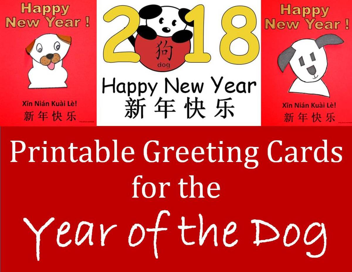 Printable Greeting Cards for Year of the Dog: Kid Crafts for Chinese New Year