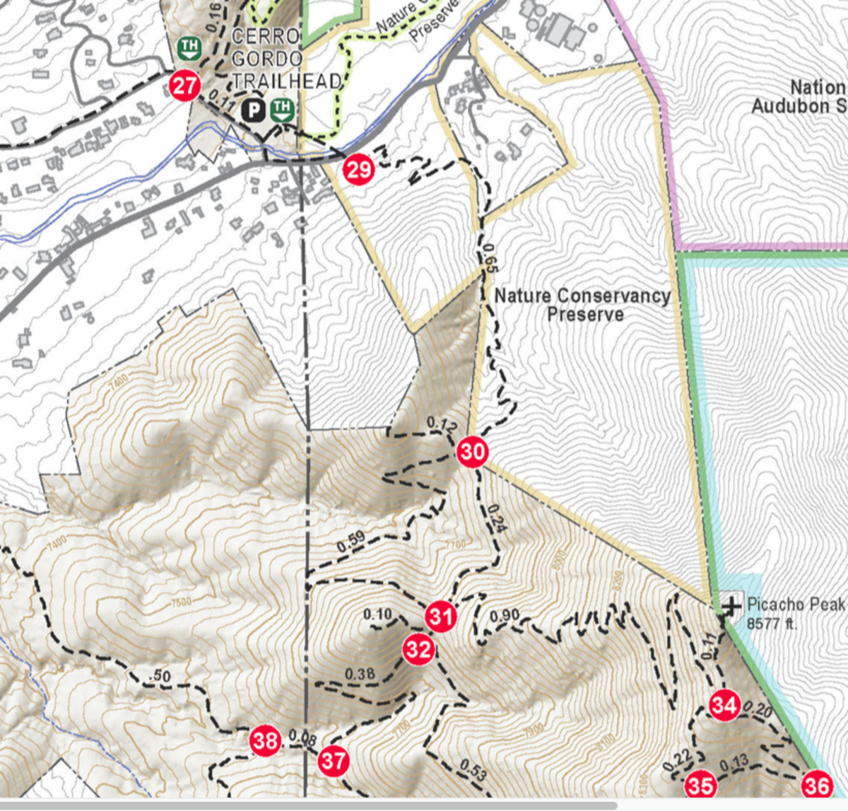 Map of the relevant Dale Ball trails