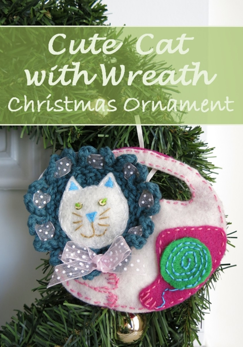 DIY Holiday Project:  Cute Cat With Wreath Christmas Ornament