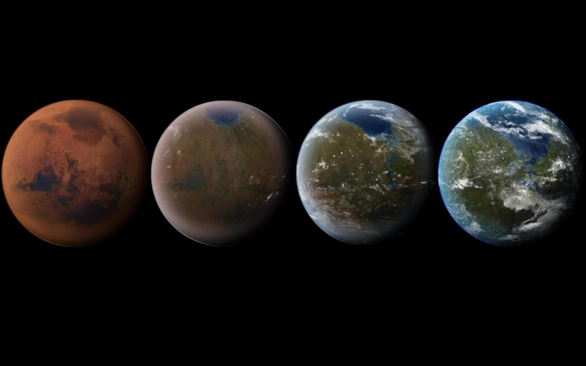 Artist's impression of the terraforming of Mars, from its current state to a livable world.
