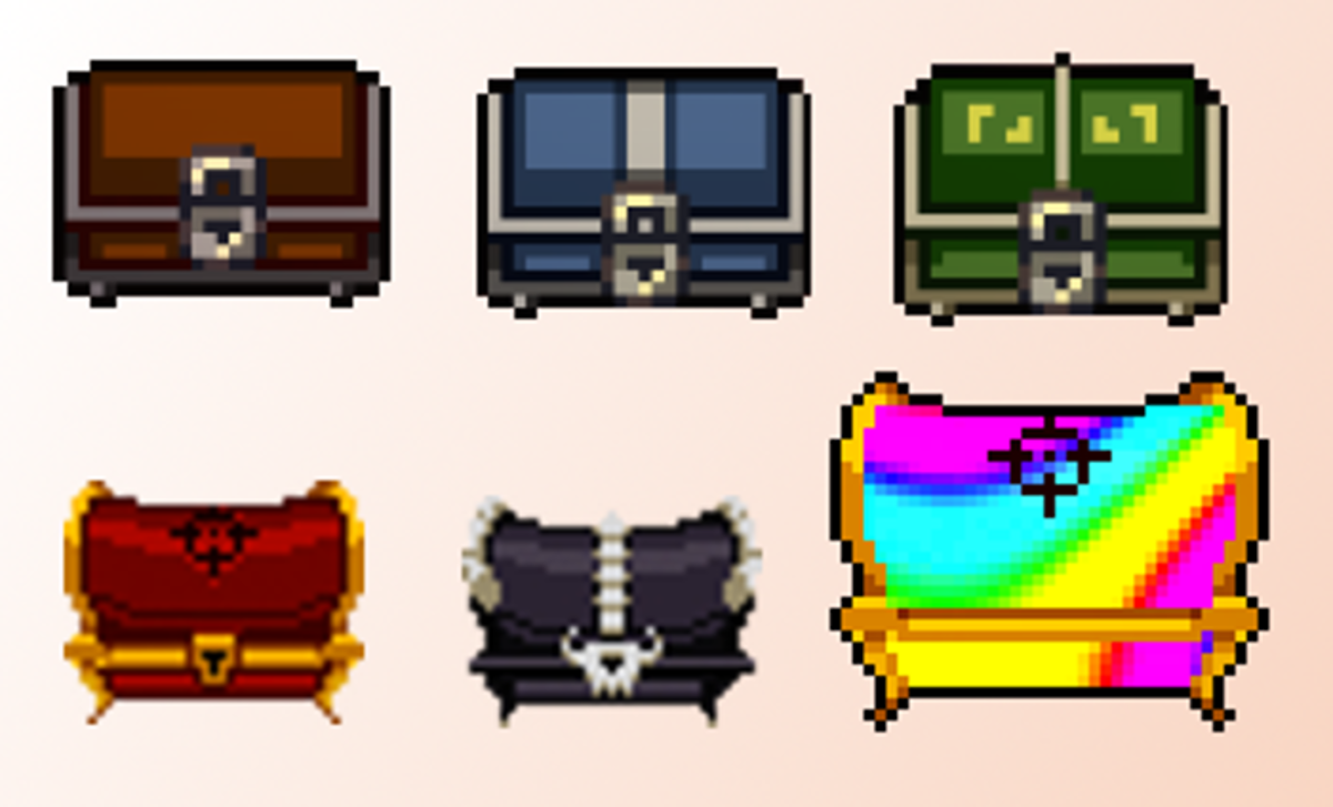 The different chests you can find in the game.