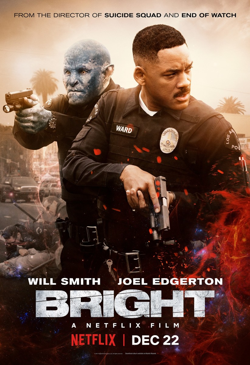 "The official theatrical poster for David Ayer's ""Bright."""