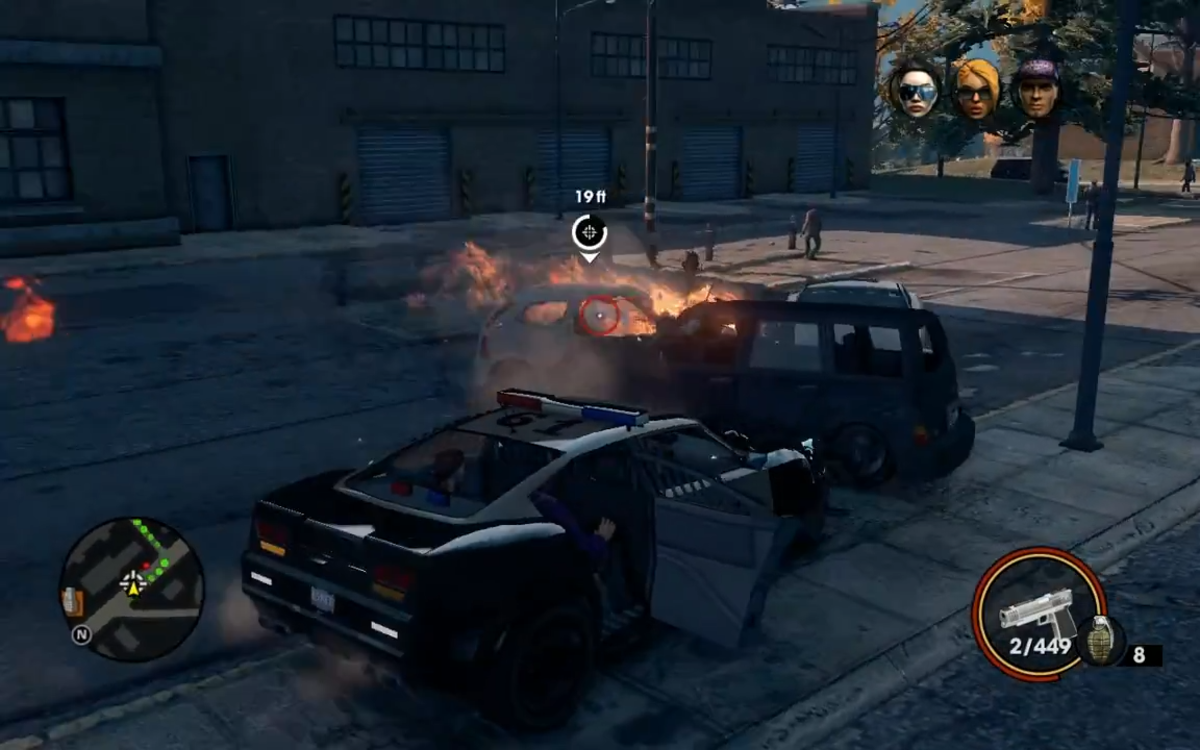 After causing sufficient damage, the target's car is about to explode.