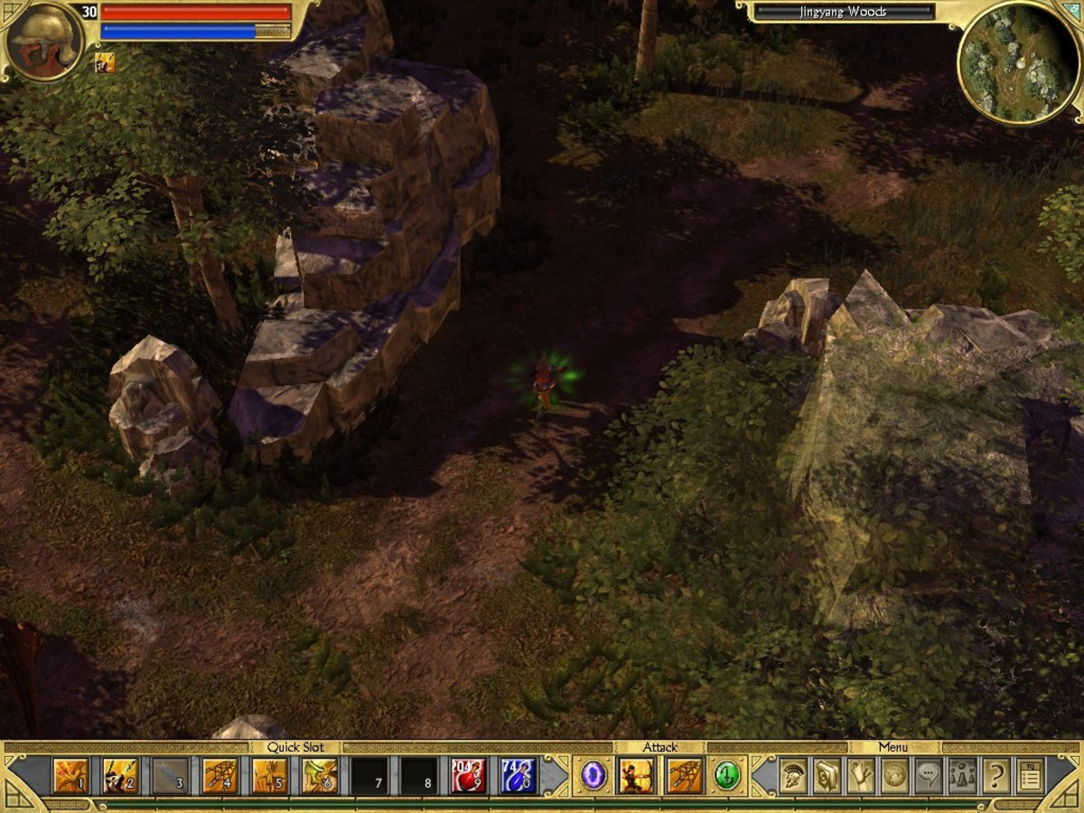 Realistic lighting and shadows and a day/night cycle contribute to Titan Quest's atmospheric environments.