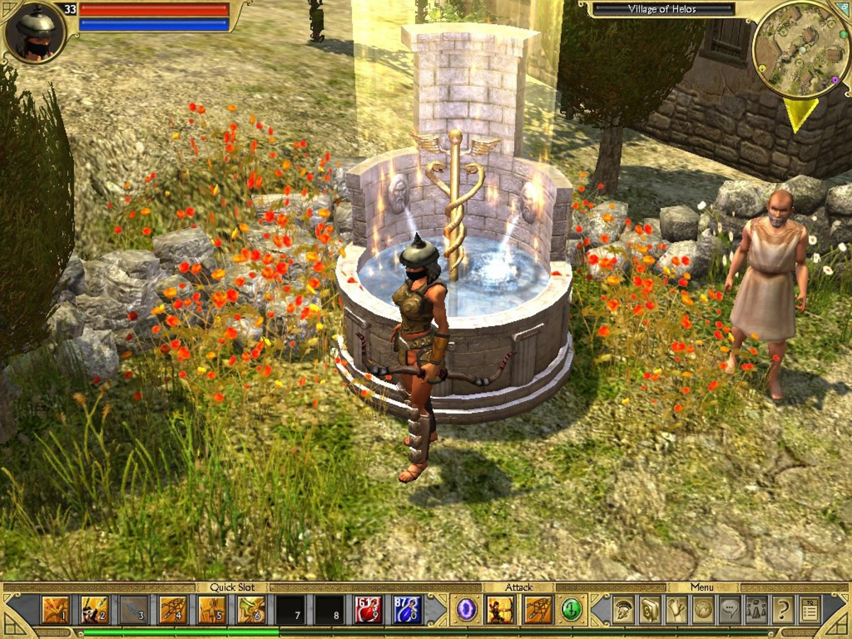 Fountains serve as respawn points for your character and are very common, ensuring you never need to play for long without a convenient place to save.