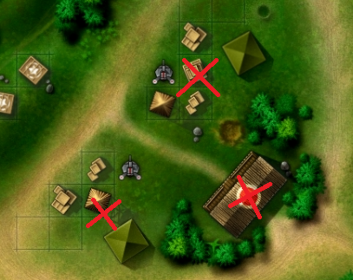 The enemy base you must destroy for the secondary objective with bomb placement markers drawn as red Xs.