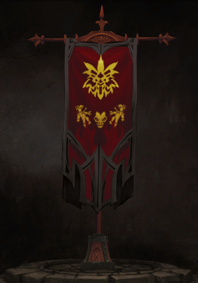 The Witch Doctor's Weaponry Banner Accent and the Witch Doctor (Promotional) Sigil.