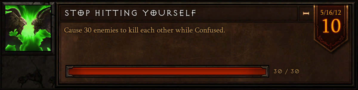 """The """"Stop Hitting Yourself"""" achievement."""