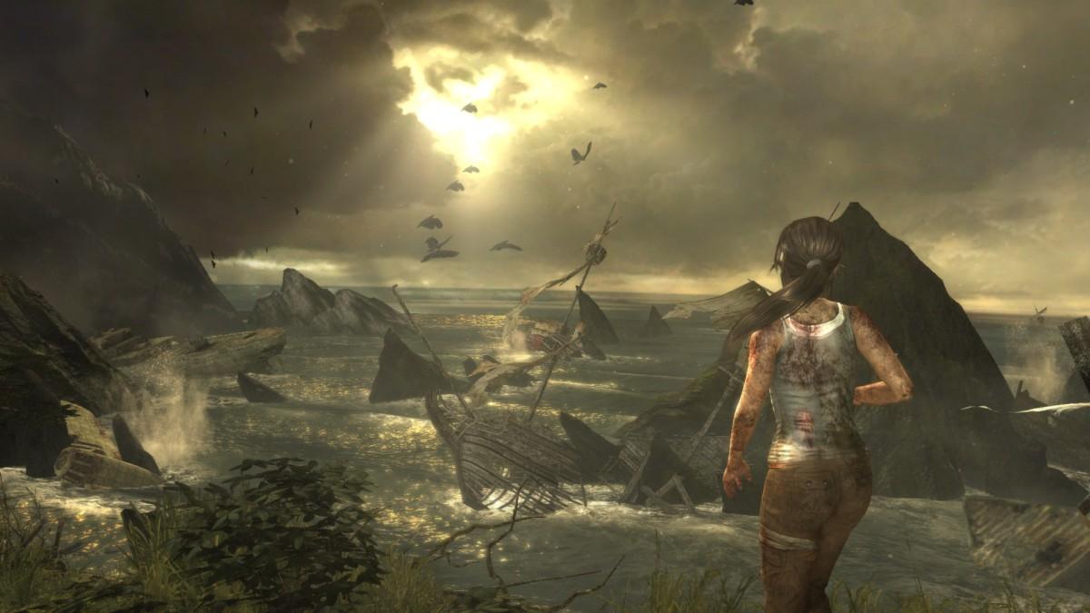 Lara emerging on the coast of Yamatai.