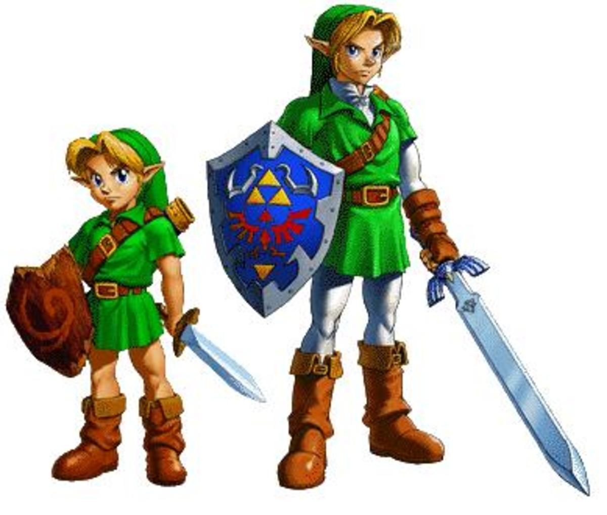 """The child and adult versions of Link from """"Ocarina of Time."""" The child version appears again in """"Majora's Mask."""""""