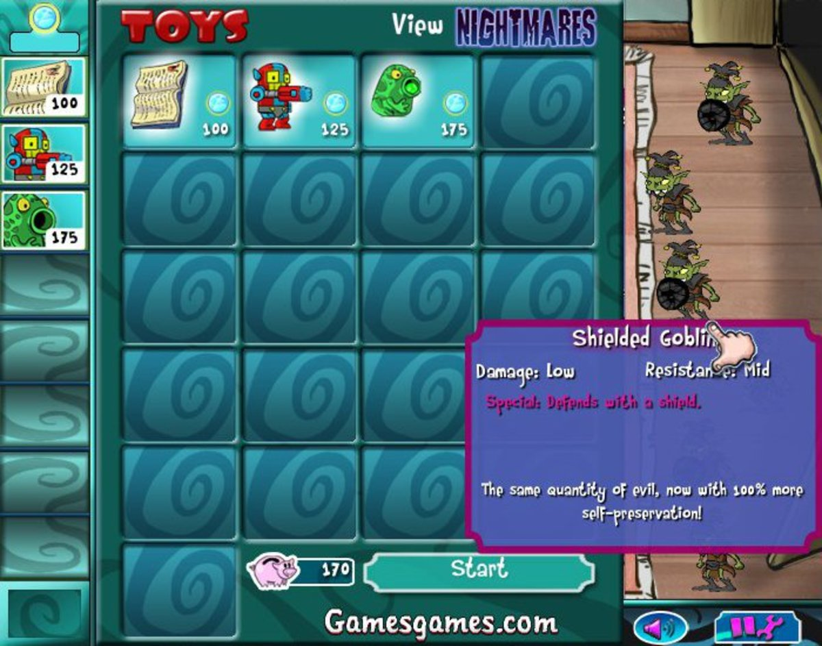 Toys vs. Nightmares shows you who you will be facing, and allows you to choose which units you will use at the start of each level.