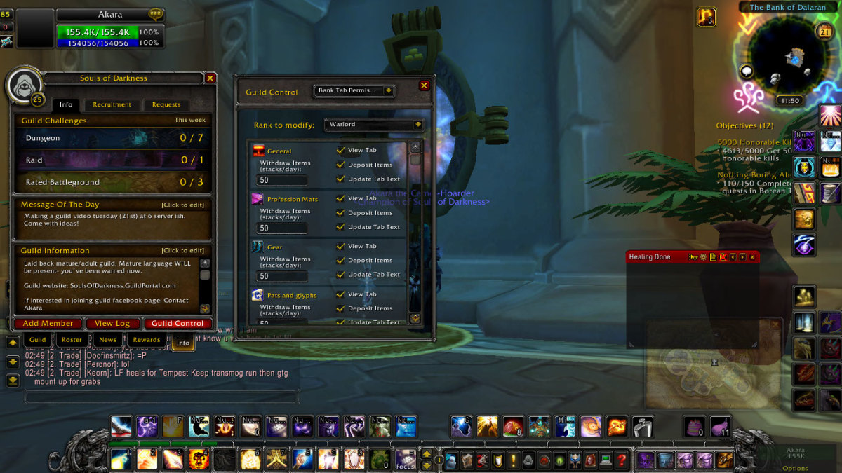 You can see here how easy it is to edit who can do what in the guild bank.