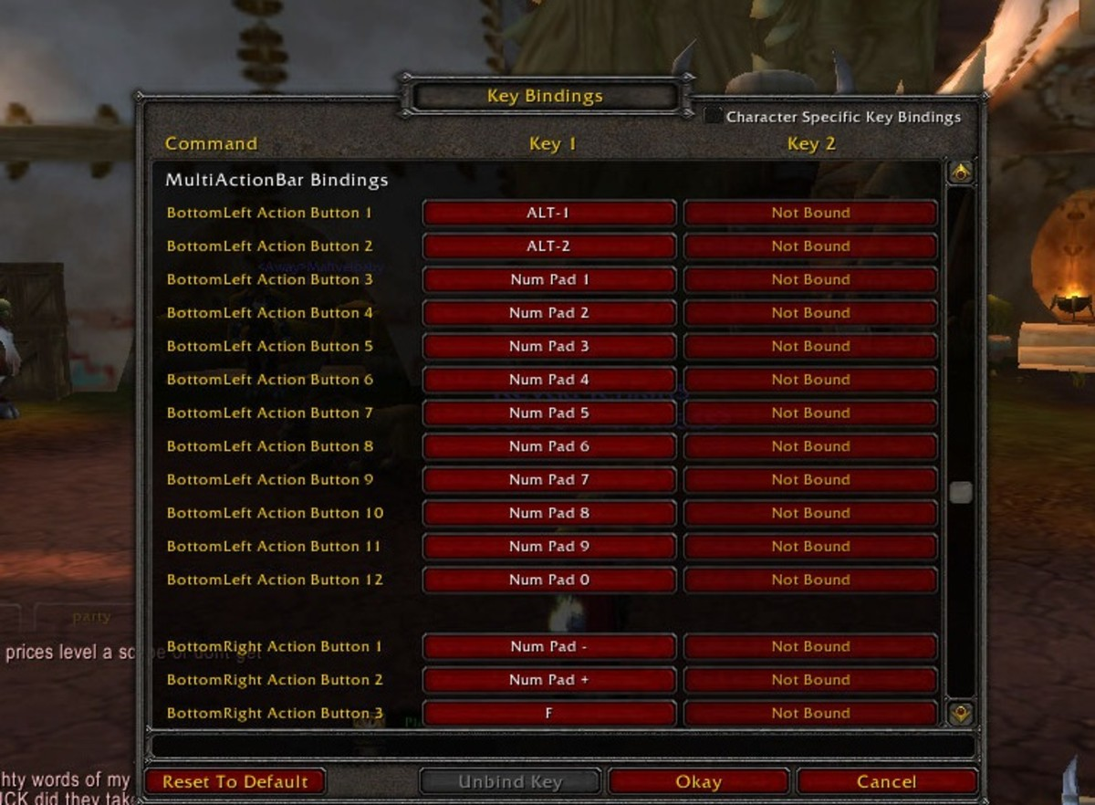 screen shot of the key bindings screen